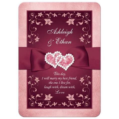 Burgundy, Blush Wedding Invitation   Printed Ribbon