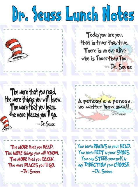 Printable Lunch Quotes | dr seuss lunch notes