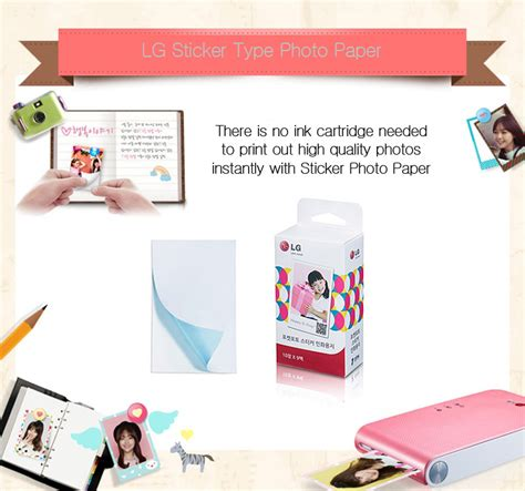 sticker printing paper types lg pocket photo popo sticker type 90 sheets paper for