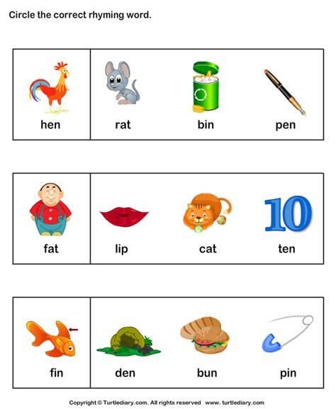 printable worksheets on rhyming words rhyme time worksheet letters pinterest words card