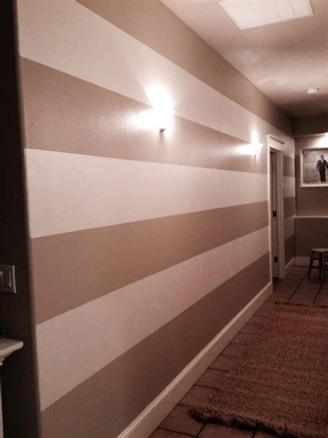 hallway stripes behr castle path 2 coats miller paint white shoulders 1 coat with 1 coat of