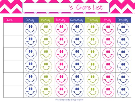 kids chore chart free printable a spark of creativity