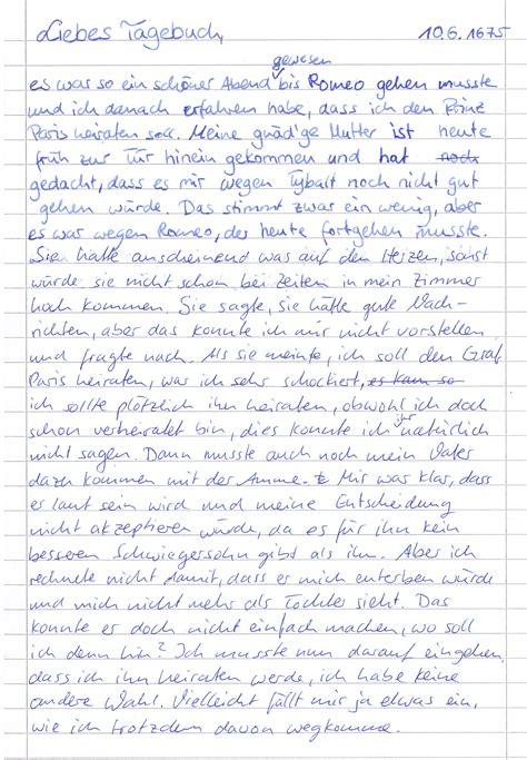 Tagebucheintrag Schreiben Muster Romeoundjulia9a 171 Ein Der Klasse 9a Oder Auch Die Etwas Andere Behandlung Einer Liebestrag 246 Die