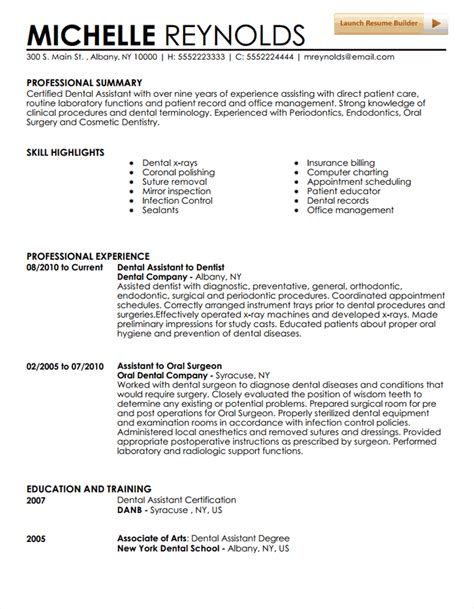 Dental Resume Templates Dental Assistant Resume Template