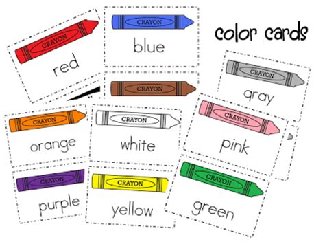 Free Color Crayon Name Card Template by Color Words Freebie Mrs Wills Kindergarten