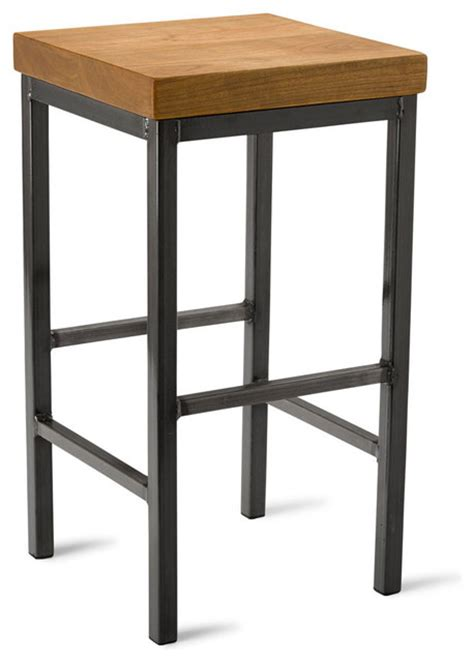 Square Bar Stool by Square Metal Stool Cherry 25 Quot H Industrial Bar Stools