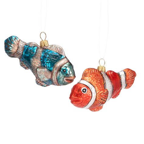 fish christmas ornaments set of 2 gump s