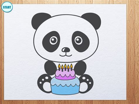 Bday Drawing by How To Draw Panda With Birthday Cake