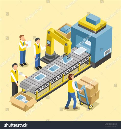 design manufacturing line robotic production line concept 3d isometric stock