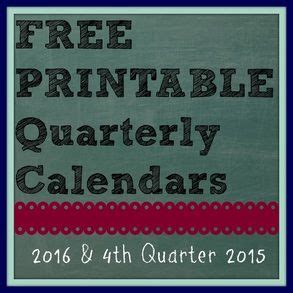 Calendar For Rest Of 2016 Free Printable Quarterly Calendars 2016 And Rest Of 2015