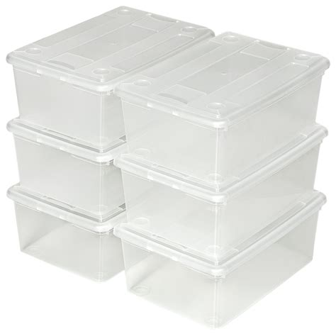 plastic shoe storage boxes with lids 4x 6 shoe boxes with lids storage box organiser stackable