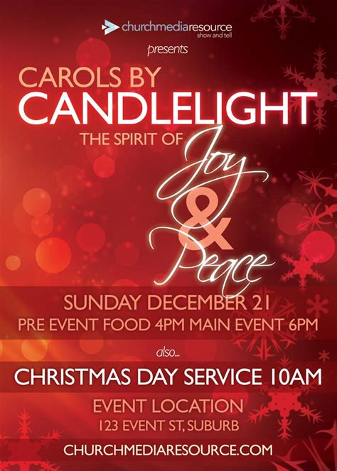 Red Snow Christmas Flyer Church Media Resource Caroling Flyer Template