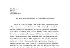 Essay Topics For The Outsiders by The Outsiders A Level Marked By Teachers