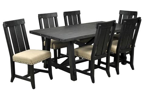 Living Spaces Dining Chairs Jaxon 7 Rectangle Dining Set W Wood Chairs Living Spaces