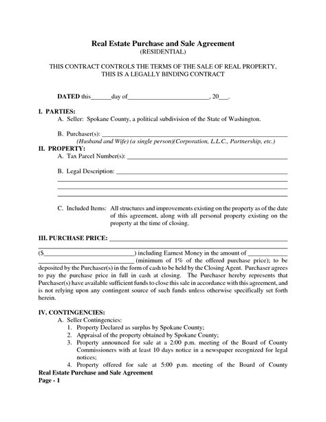 purchase and sale agreement template 20 printable blank contract template exles thogati