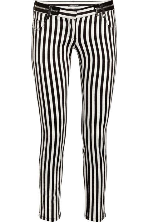 black and white patterned jeans lyst balmain striped low rise skinny jeans in black