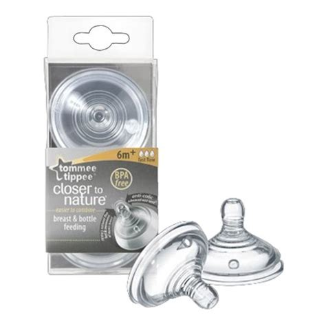 Tommee Tippee Closer To Nature Teats 2 Pack Medium Flow 3m tommee tippee closer to nature fast flow teats 2 pack