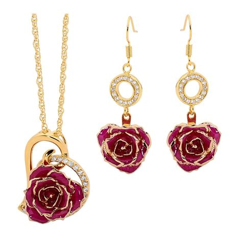 rose themed jewellery purple matching pendant and earring set heart theme 24k gold