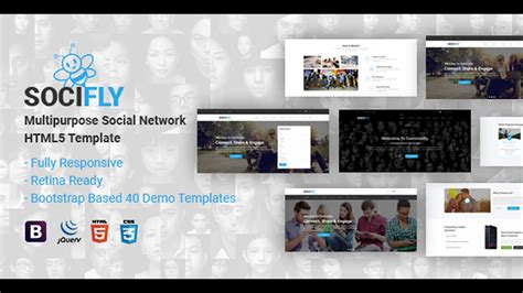 themeforest site templates socifly multipurpose social network html5 template