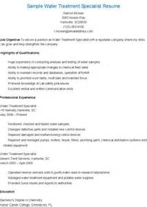 resume sles sle water treatment specialist resume