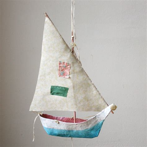 Origami Ship With Mast - paper mache boat pattern wood handmade