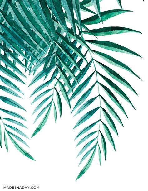 free printable palm leaves tropical palm watercolor wall art printables made in a day