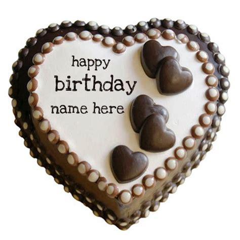 write   happy birthday heart chocolate cake