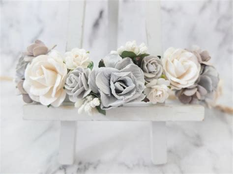 Wedding Hair Wreath Of Flowers by Grey And White Wedding Flower Crown Wreath