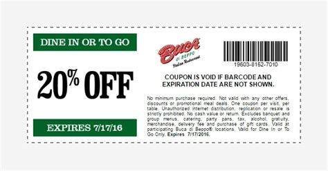 Buca Di Beppo Printable Coupon 2018