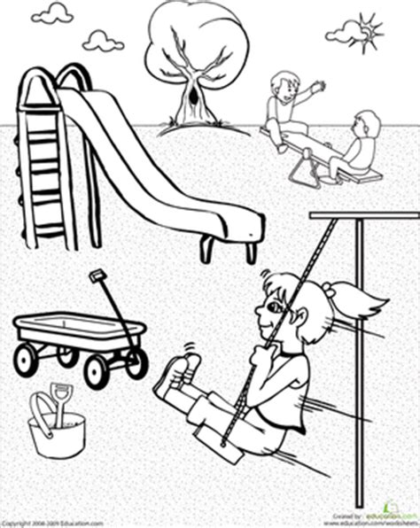 coloring pages school playground color the playground worksheet education com