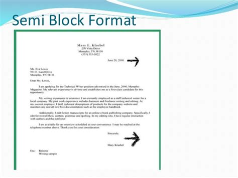 application letter semi block style presentation business letter formats