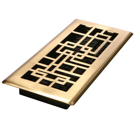 decor grates 4 in x 10 in satin brass steel floor