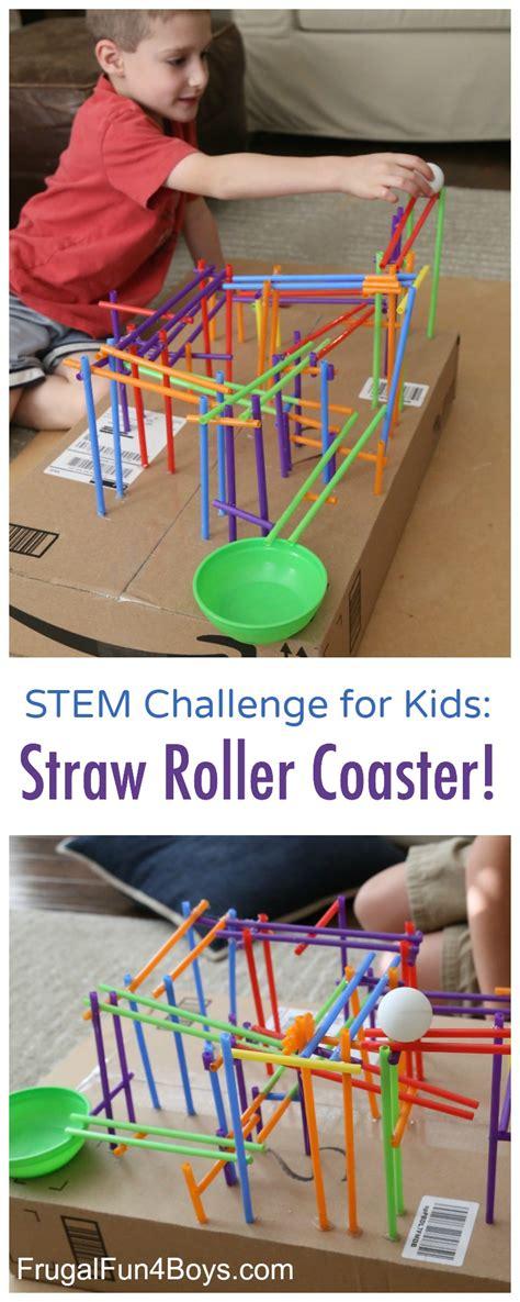 design home game problems stem challenge for kids build a straw roller coaster
