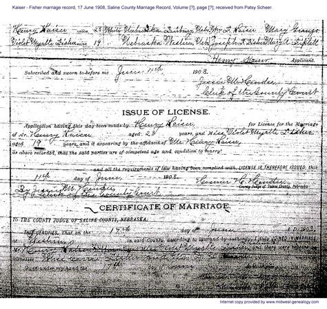 Nebraska Marriage Records Hintz Family Documents