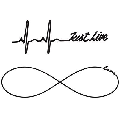 just live tattoo just live infinity black white typography temporary