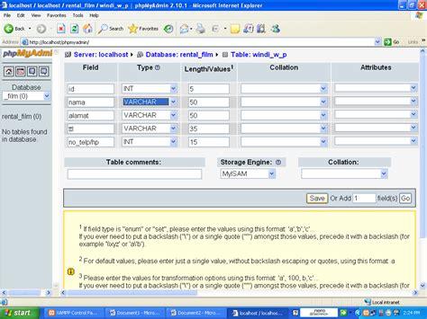 membuat database film corat caret membuat database menggunakan xampp