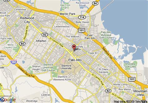 where is palo alto california on a map map of cardinal hotel palo alto