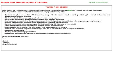 Experience Letter With Responsibilities Blaster Work Experience Certificate
