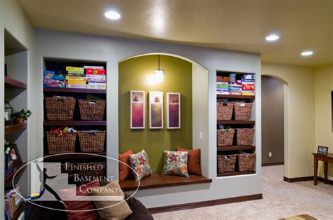 Finished Basement Storage Ideas Basement Shelves And Bench Seat Traditional Basement Denver By Finished Basement Company