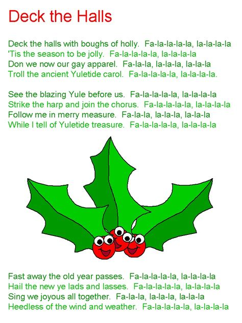 printable lyrics for deck the halls deck the halls lyrics christmas pinterest