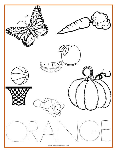 preschool exercise coloring pages orange color activity sheet repinned by totetude com