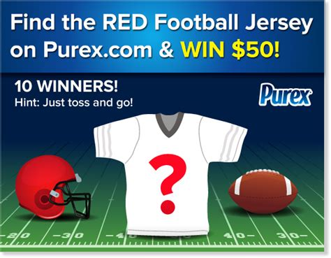 Football Sweepstakes - purex scavenger hunt find the red football jersey win sweepstakes 10 50 winners