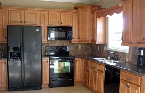 Wood Cabinets With Black Appliances by Black Kitchen Appliances With Light Wood Cabinets Home