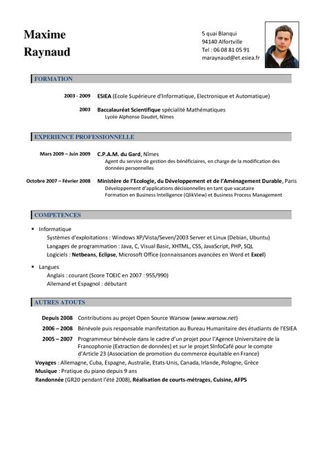 Exemple De Cv Format Word by Cv Francais Word Exemple Mise En Page Cv Jaoloron