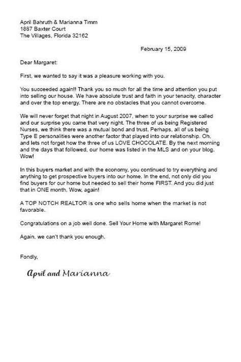 appreciation letter to real estate better than a paycheck