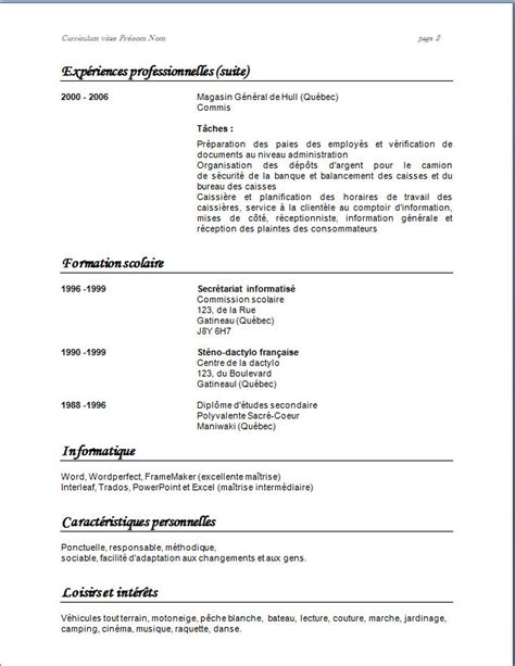 Modèle De Cv Word à Télécharger Gratuit by Resume Format Modele De Cv Gratuit Caissiere