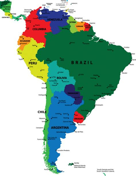south america map by country map of the continent of south america with countries and
