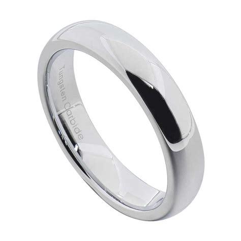 tungsten carbide silver polished wedding band men womens