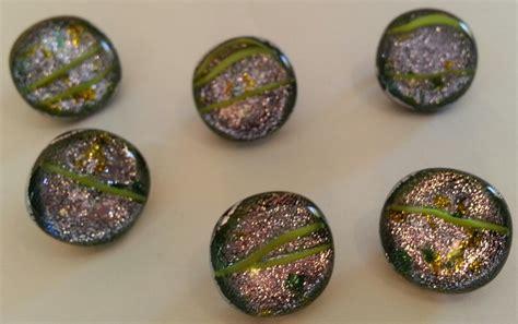 Handmade Buttons - six dichroic glass silver glitter handmade buttons 5 8