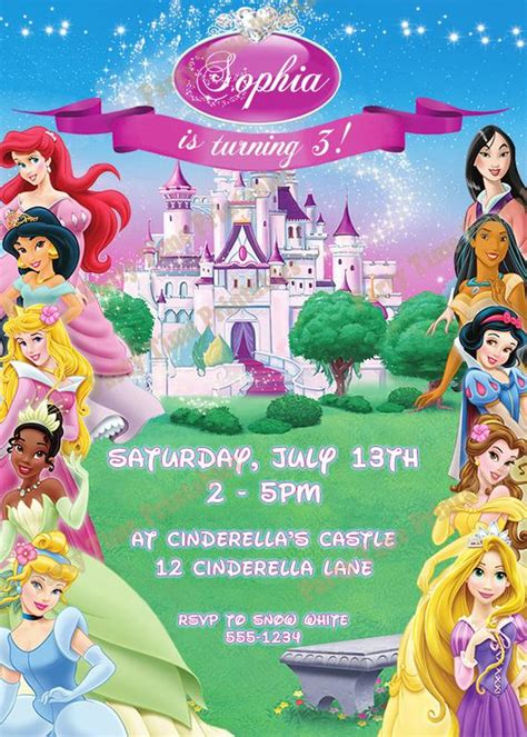 princess invitations etsy items similar to disney princess invitation printable invitations disney princess